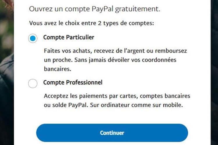 Créer un compte PayPal